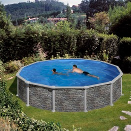 GRE Сглобяем басейн с метална стена кръг имитация на камък ф460 h 120см.