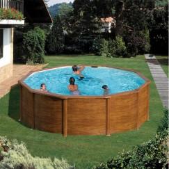GRE Сглобяем басейн с метална стена кръг имитация на дърво ф460 h 120см.