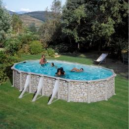 GRE Сглобяем басейн с метална стена овал имитация на камък 730 x 375 h 120см.