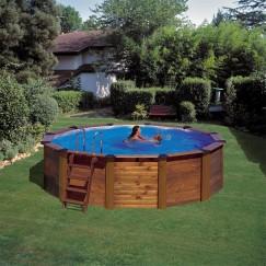 GRE Сглобяем басейн с ДЪРВЕНА ДВОЙНА СТЕНА НА БАСЕЙНА(СТОМАНА+ДЪРВО) кръг ф360 h 120см.