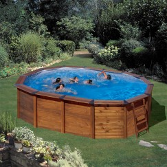 GRE Сглобяем басейн с ДЪРВЕНА ДВОЙНА СТЕНА НА БАСЕЙНА(СТОМАНА+ДЪРВО) овал 500 х 300 х h 120см.