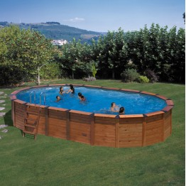 GRE Сглобяем басейн с ДЪРВЕНА ДВОЙНА СТЕНА НА БАСЕЙНА(СТОМАНА+ДЪРВО) овал 730 х 375 х h 120см.